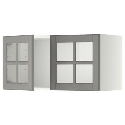 METOD Seinäkaappi 2 vitriiniovella, valkoinen/Bodbyn harmaa, 80x40 cm