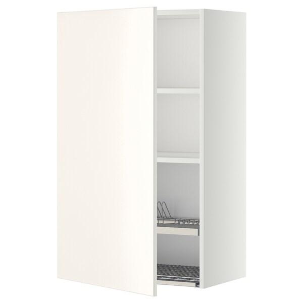 METOD Seinäkaappi + astiankuivausteline, valkoinen/Veddinge valkoinen, 60x100 cm