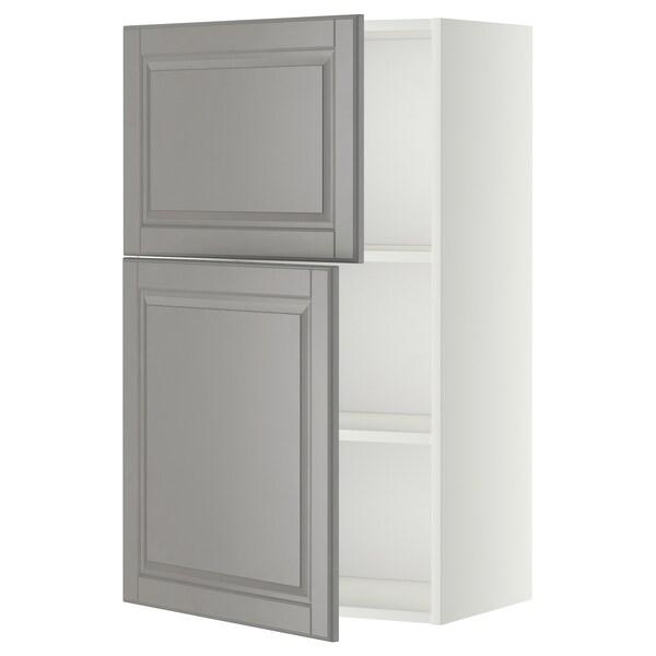 METOD Seinäkaappi hyllyillä/2 ovea, valkoinen/Bodbyn harmaa, 60x100 cm