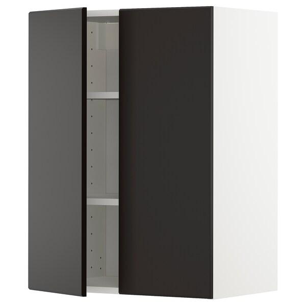 METOD Seinäkaappi hyllyillä/2 ovea, valkoinen/Kungsbacka antrasiitti, 60x80 cm