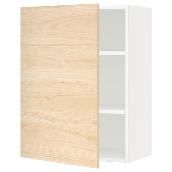 METOD Seinäkaappi hyllyillä, valkoinen/Askersund vaalea saarnikuvio, 60x80 cm