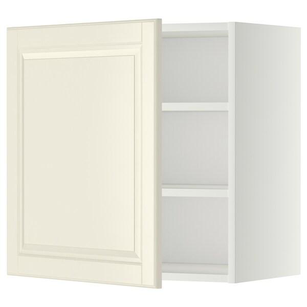 METOD Seinäkaappi hyllyillä, valkoinen/Bodbyn luonnonvalkoinen, 60x60 cm