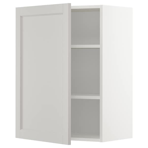 METOD Seinäkaappi hyllyillä, valkoinen/Lerhyttan vaaleanharmaa, 60x80 cm