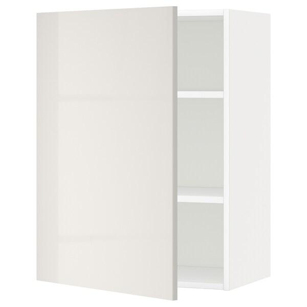 METOD Seinäkaappi hyllyillä, valkoinen/Ringhult vaaleanharmaa, 60x80 cm
