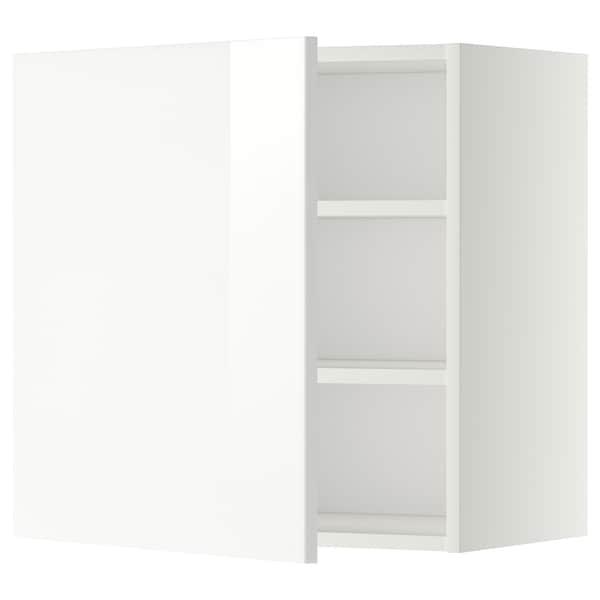 METOD Seinäkaappi hyllyillä, valkoinen/Ringhult valkoinen, 60x60 cm