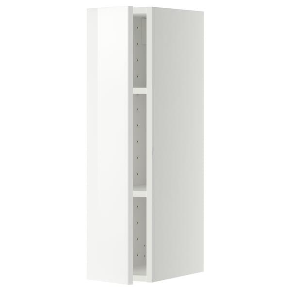 METOD Seinäkaappi hyllyillä, valkoinen/Ringhult valkoinen, 20x80 cm