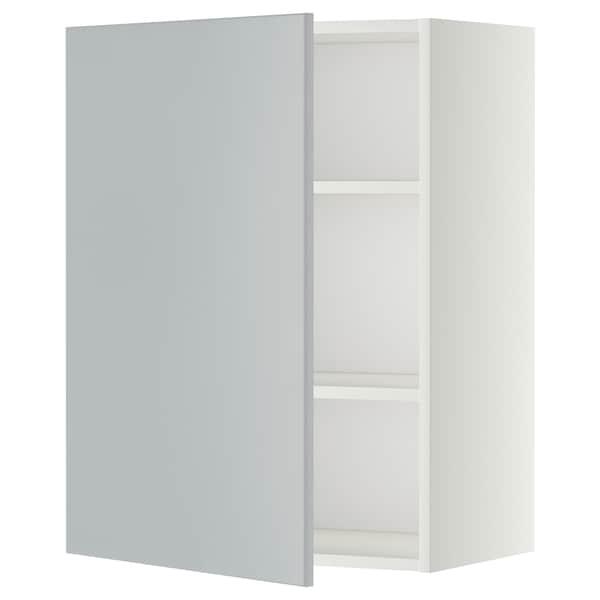 METOD Seinäkaappi hyllyillä, valkoinen/Veddinge harmaa, 60x80 cm
