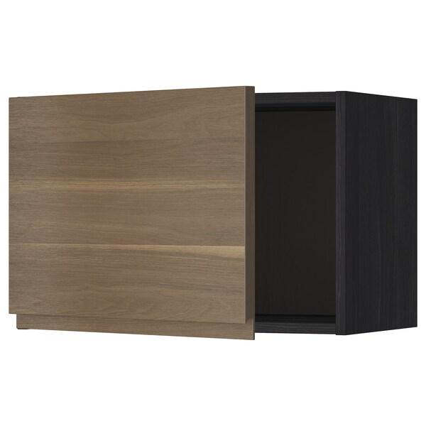 METOD Seinäkaappi, musta/Voxtorp pähkinäpuukuvio, 60x40 cm