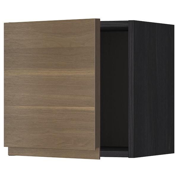 METOD Seinäkaappi, musta/Voxtorp pähkinäpuukuvio, 40x40 cm