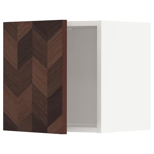 METOD Seinäkaappi, valkoinen Hasslarp/ruskea kuvioitu, 40x40 cm