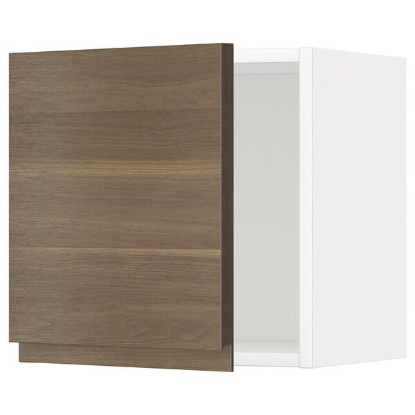 METOD Seinäkaappi, valkoinen/Voxtorp pähkinäpuukuvio, 40x40 cm