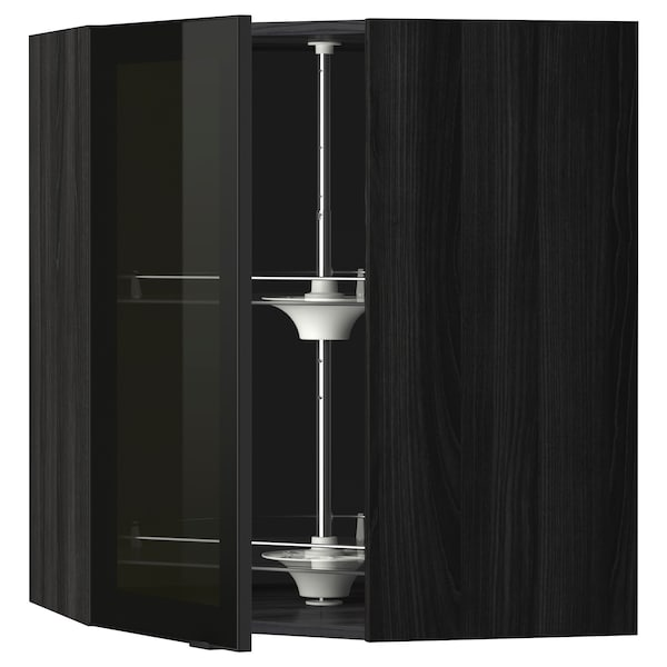 METOD Seinäkulmakaappi+karuselli/vitrovi, musta/Jutis savulasi, 68x80 cm