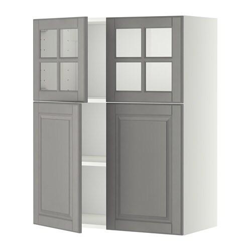 METOD Seinäkaap hyllyt 2 ov 2 vitriiniov  valkoinen, Bodbyn harmaa  IKEA