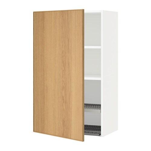 METOD Seinäkaappi + astiankuivausteline  valkoinen, Ekestad tammi, 60×100 cm
