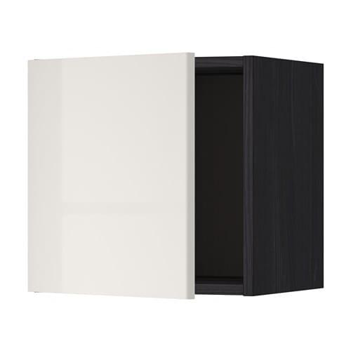 METOD Seinäkaappi  puukuvioitu musta, Ringhult korkeakiilto vaaleanharmaa, 4