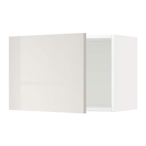 METOD Seinäkaappi  valkoinen, Ringhult korkeakiilto vaaleanharmaa, 60×40 cm