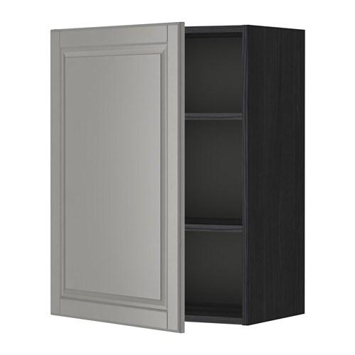 METOD Seinäkaappi+hyllylevy  puukuvioitu musta, Bodbyn harmaa, 60×80 cm  IKEA