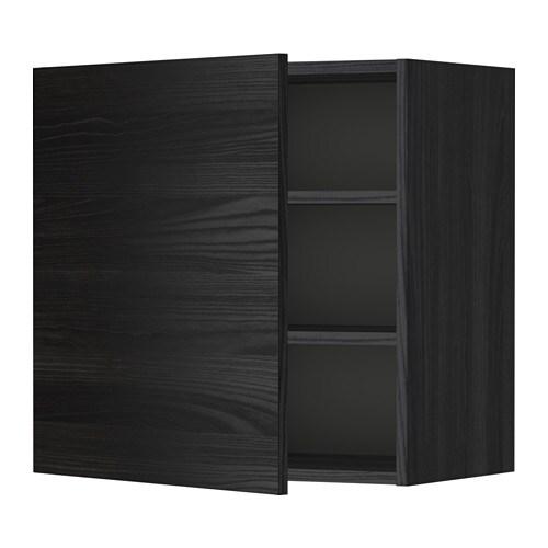 METOD Seinäkaappi+hyllylevy  puukuvioitu musta, Tingsryd puukuvioitu musta,