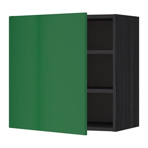 METOD Seinäkaappi+hyllylevy  puukuvioitu musta, Flädie vihreä, 60×60 cm  IKEA
