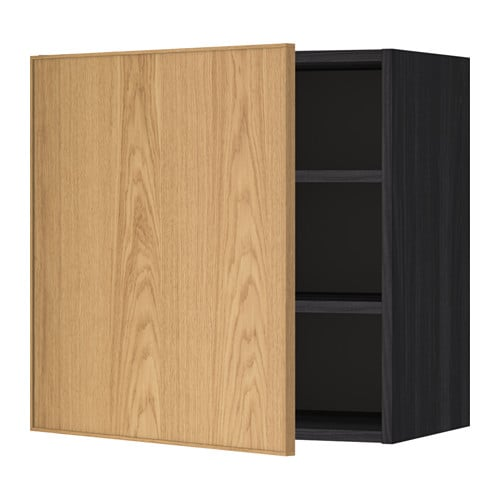 METOD Seinäkaappi+hyllylevy  puukuvioitu musta, Ekestad tammi, 60×60 cm  IKEA