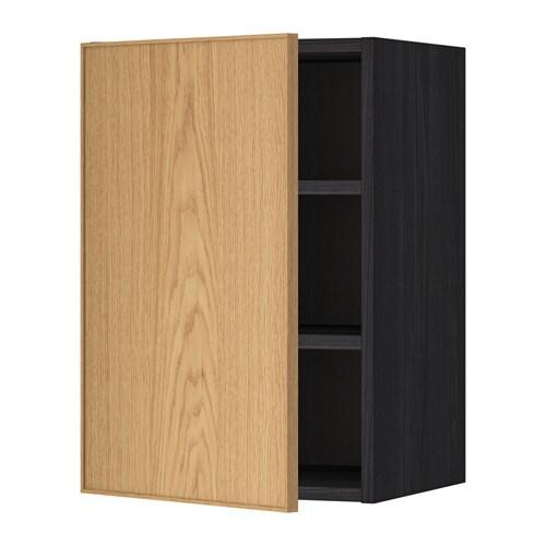 METOD Seinäkaappi+hyllylevy  puukuvioitu musta, Ekestad tammi, 40×60 cm  IKEA