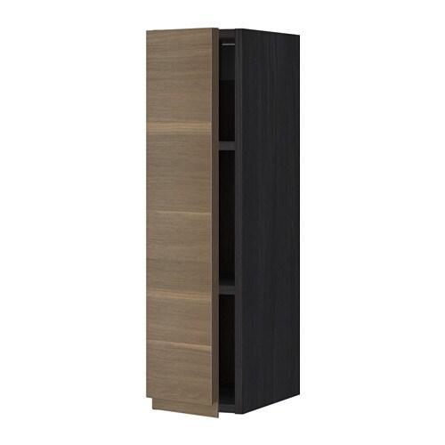METOD Seinäkaappi+hyllylevy  puukuvioitu musta, Voxtorp pähkinäpuukuvio, 20x