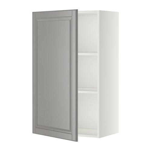 METOD Seinäkaappi+hyllylevy  valkoinen, Bodbyn harmaa, 60×100 cm  IKEA
