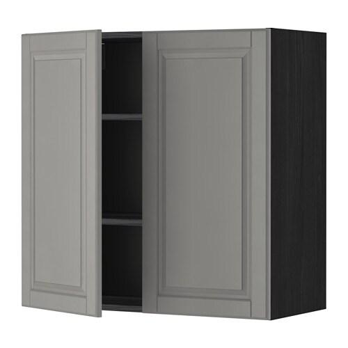 METOD Seinäkaappi hyllyt 2 ovea  puukuvioitu musta, Bodbyn harmaa, 80×80 cm