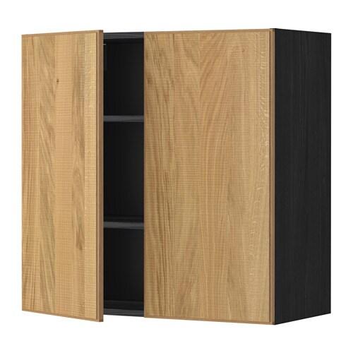 METOD Seinäkaappi hyllyt 2 ovea  puukuvioitu musta, Hyttan tammiviilu, 80×80