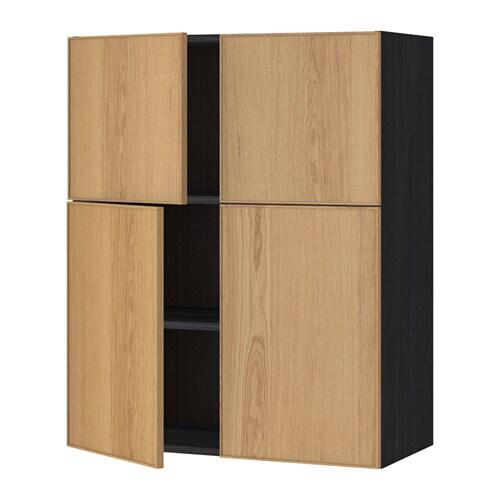 METOD Seinäkaappi hyllyt 4 ovea  puukuvioitu musta, Ekestad tammi  IKEA