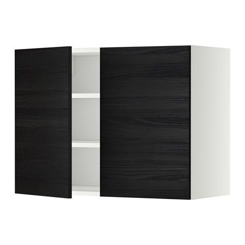 METOD Seinäkaappi hyllyt 2 ovea  valkoinen, Tingsryd puukuvioitu musta, 80×6