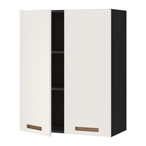 METOD Seinäkaappi hyllyt 2 ovea  puukuvioitu musta, Märsta valkoinen, 80×100