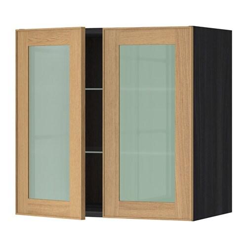 METOD Seinäkaappi hyllyt 2 vitriiniovea  puukuvioitu musta, Ekestad tammi, 6