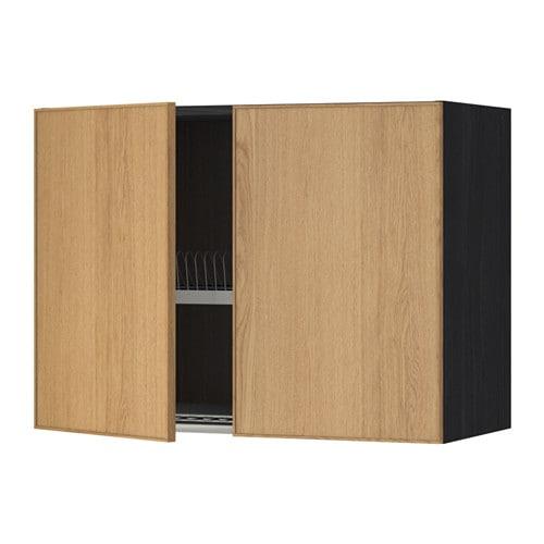 METOD Seinäkaappi + kuivausteline 2 ovea  puukuvioitu musta, Ekestad tammi,