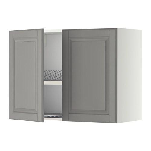 METOD Seinäkaappi + kuivausteline 2 ovea  valkoinen, Bodbyn harmaa, 80×60 cm