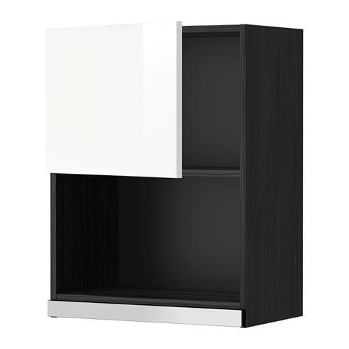 METOD Seinäkaappi mikrouunille  puukuvioitu musta, Ringhult korkeakiilto val