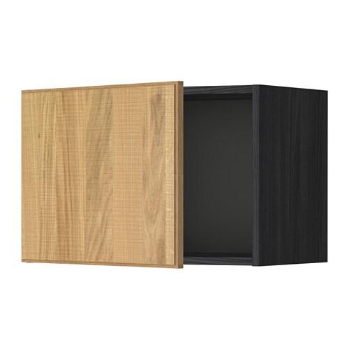 METOD Seinäkaappi  puukuvioitu musta, Hyttan tammiviilu, 60×40 cm  IKEA