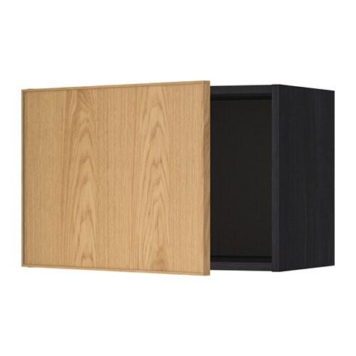 METOD Seinäkaappi  puukuvioitu musta, Ekestad tammi, 60×40 cm  IKEA