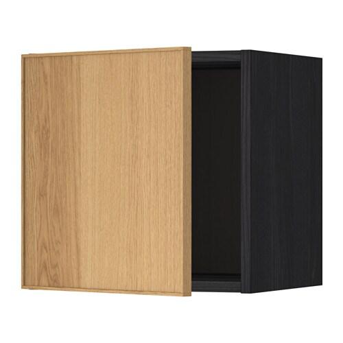 METOD Seinäkaappi  puukuvioitu musta, Ekestad tammi, 40×40 cm  IKEA