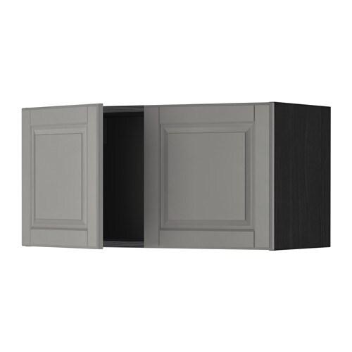 METOD Seinäkaappi 2 ovea  puukuvioitu musta, Bodbyn harmaa  IKEA