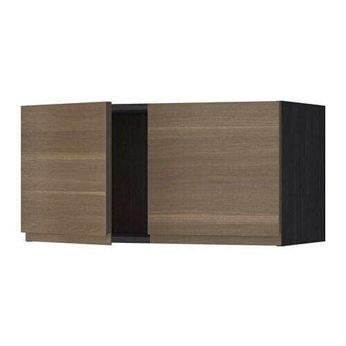 METOD Seinäkaappi 2 ovea  puukuvioitu musta, Voxtorp pähkinäpuukuvio  IKEA