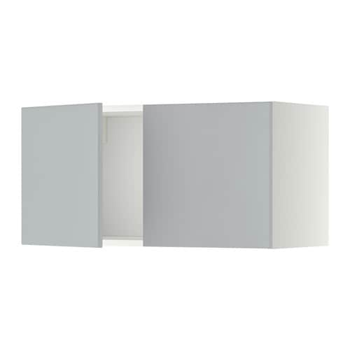 METOD Seinäkaappi 2 ovea  valkoinen, Veddinge harmaa  IKEA
