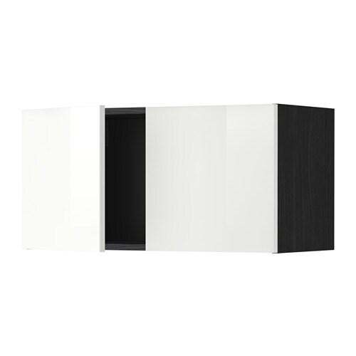 METOD Seinäkaappi 2 ovea  puukuvioitu musta, Ringhult korkeakiilto valkoinen