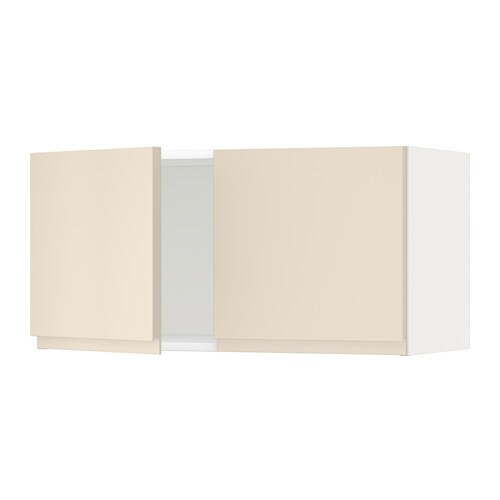 METOD Seinäkaappi 2 ovea  valkoinen, Voxtorp vaalea beige  IKE