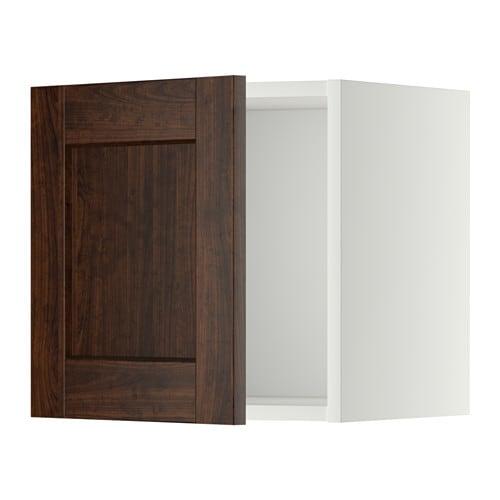 METOD Seinäkaappi  valkoinen, Edserum puukuvioitu ruskea