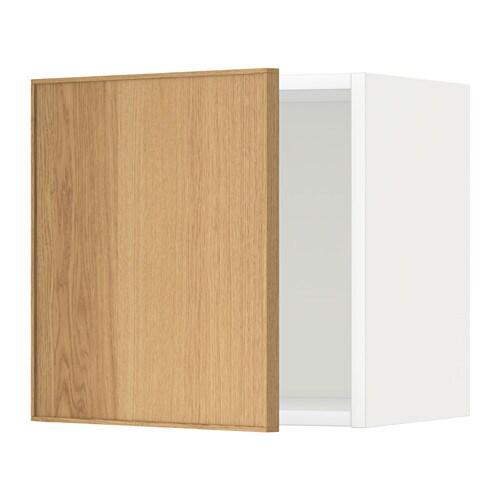 METOD Seinäkaappi  valkoinen, Ekestad tammi, 40×40 cm  IKEA