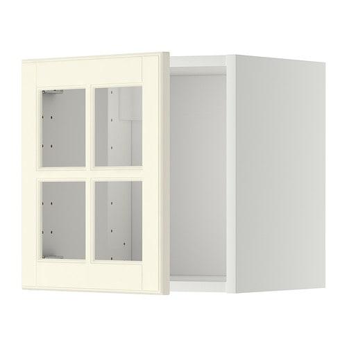 METOD Seinäkaappi + vitriiniovi  valkoinen, Bodbyn