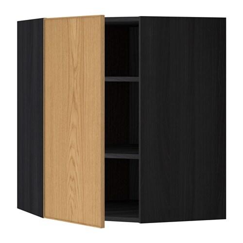 METOD Seinäkulmakaappi, hyllyt  puukuvioitu musta, Ekestad tammi, 68×80 cm