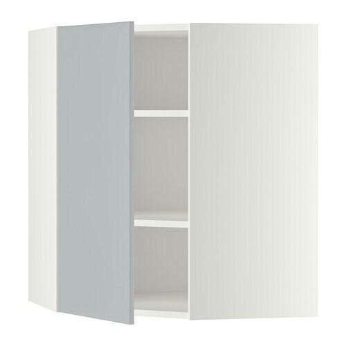 METOD Seinäkulmakaappi, hyllyt  valkoinen, Veddinge harmaa, 68×80 cm  IKEA