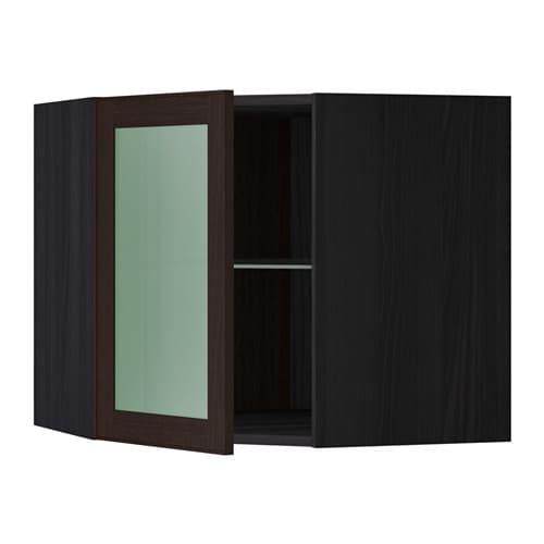 METOD Seinäkulmakaappi, hyllyt vitrovi  puukuvioitu musta, Ekestad ruskea, 6